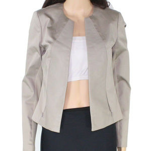 Iris Setlakwe Beige Cotton & Leather Jacket sz 8 M